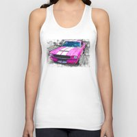 mustang Tank Tops featuring Pink Mustang  by Paul Stephenson