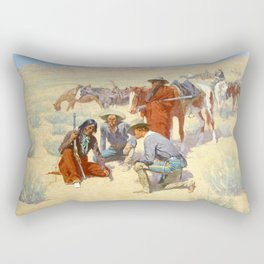 """Western Art """"A Map in the Sand"""" by Frederic Remington Rectangular Pillow"""