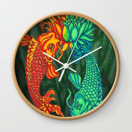 Koi Fish Lotus Wall Clock