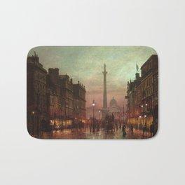Trafalgar Square, Nelson's Column, London, England, Twilight by John Atkinson Grimshaw Bath Mat