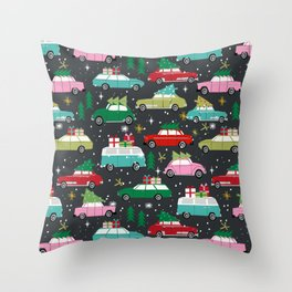 Christmas pattern print vintage cars holiday gifts presents christmas trees cute decor Throw Pillow