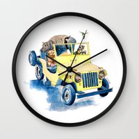 jeep Wall Clocks featuring Animal Jeep by Claire Sianna