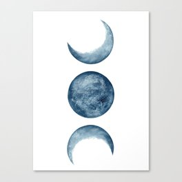 Blue Moon Phases Watercolor Canvas Print