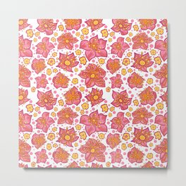 Pretty Pink And Yellow Floral Pattern Metal Print