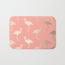 Gold Flamingo Pattern Coral Pink Bath Mat