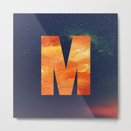 Fire Space Galaxy Initial Monogram Letter M Metal Print