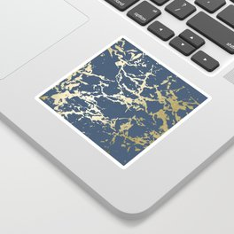 Kintsugi Ceramic Gold on Indigo Blue Sticker
