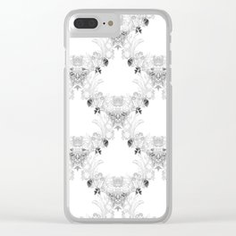 Watercolor wildflower trellis in black and white Clear iPhone Case