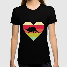 Stegosaurus Dinosaur Reptile Heart Dino Fossil Fan T-shirt