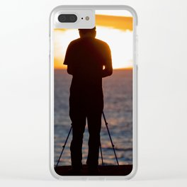 Photographer photographing the sunset over the Pacific Ocean Clear iPhone Case