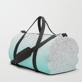 Modern Girly Faux Silver Glitter Ombre Teal Ocean Color Block Duffle Bag