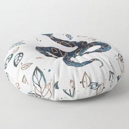 'Sea Serpent' snake and tropical illustration by Kristen Baker Floor Pillow