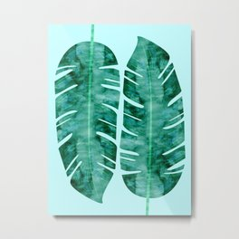 Painting two leaves tropical Metal Print