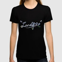 Landfill text blue T-shirt