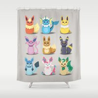 sylveon Shower Curtains featuring Evolution Bobbles by creativeesc