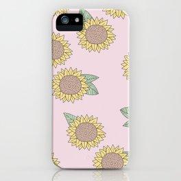 Sunflower autumn garden botanical blossom pattern pink girls iPhone Case
