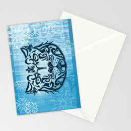 Tribal Graphic Design Illustration winter: Snow Leopard Stationery Cards