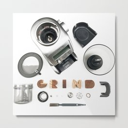 Grind // Exploded View Espresso Coffee Grinder Wood Block Typography Lettering Photograph Metal Print