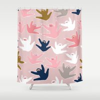 sloths Shower Curtains featuring Pattern with sloths by Darish