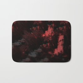 Abstract red material emerging design close up macro intricate pattern textured background Bath Mat