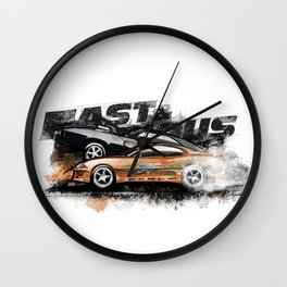 Brian's Toyota Supra MK IV 1998 and Dom's Dodge Charge R/T 1970 (Fast and Furious Edition #2) Wall Clock