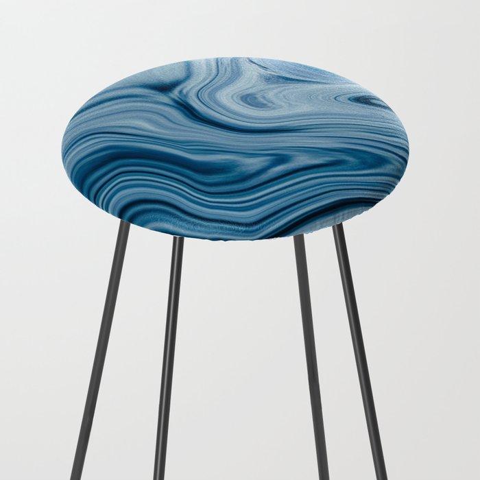 Splash of Blue Swirls, Digital Fluid Art Graphic Design Counter Stool