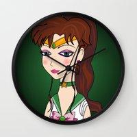 sailor jupiter Wall Clocks featuring Lady Sailor Jupiter by Pendientera