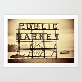 Ferry and Sign for Pike Place Market, Seattle Art Print