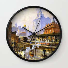 Elevated Subway at Chatham Square New York City landscape painting by Colin Campbell Cooper  Wall Clock
