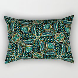 Bohemian Folkart Floral - Indigo, Turquoise & Burnt Red Flower Pattern with Folky Feel Rectangular Pillow