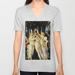 Sandro Botticelli Primavera The Three Graces Unisex V-Neck