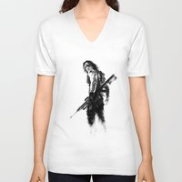 the winter soldier V-neck T-shirts featuring Winter Soldier by Mari Vasilescu
