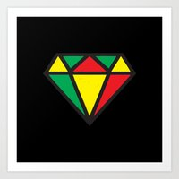 reggae Art Prints featuring Reggae Diamond by Grime Lab