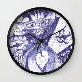 The Royal Cat pen and ink drawing Wall Clock
