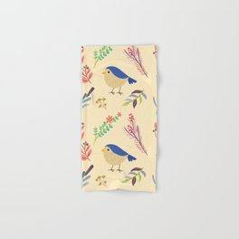 Cute hand painted blue coral ivory bird floral pattern Hand & Bath Towel