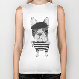 French Bulldog. (black and white version) Biker Tank