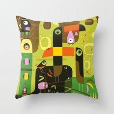 The toucan hunter Throw Pillow
