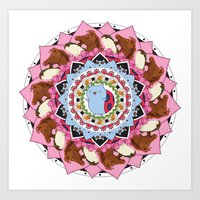 catbug Art Prints featuring Catbug Flower by Lundy