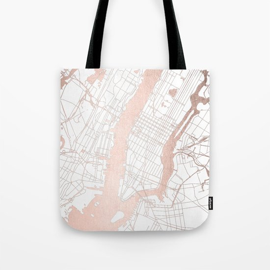 New York City White on Rosegold Street Map by mapmaker