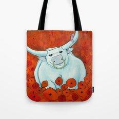 Bull In Poppies Tote Bag