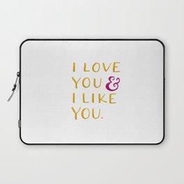 I love you & I like you -- Yellow Laptop Sleeve