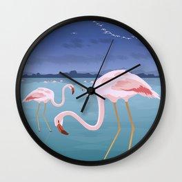 Flamingos at the Lagoon, Lefkada (GR) Wall Clock