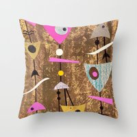 50s Throw Pillows featuring Retro Fantasy 50s Brown Pink by Beatrice Roberts