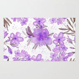 Watercolor lavender lilac brown modern floral Rug
