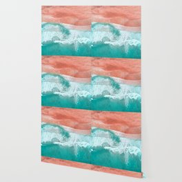 The Break - Turquoise Sea Pastel Pink Beach Wallpaper