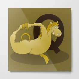 Monogram Q Pony Metal Print