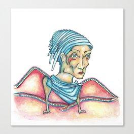 Blue Hat Woman Canvas Print