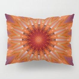 Vibrant Purple Orange Mandala Design Pillow Sham