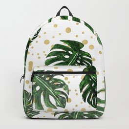 Tropical Leaves on a Sand Dotted Background Backpack