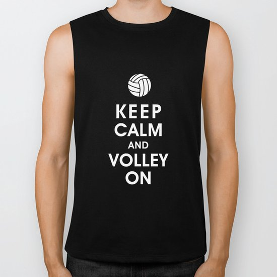 Keep Calm and Volley On (For the Love of Volley Ball) Biker Tank